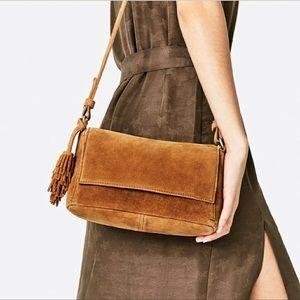 Zara Genuine Leather Camel Tassel Crossbody Bag